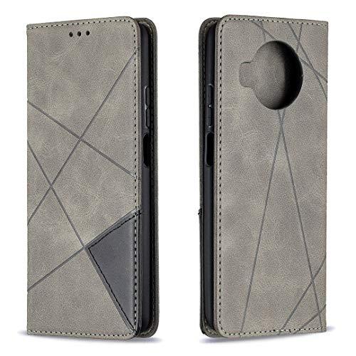 Hülle für Xiaomi Mi 10T Lite 5G Handyhülle Schutzhülle Leder PU Wallet Bumper Lederhülle Ledertasche Klapphülle Klappbar Magnetisch für Xiaomi Mi 10T Lite 5G - ZIBF090756 Grau