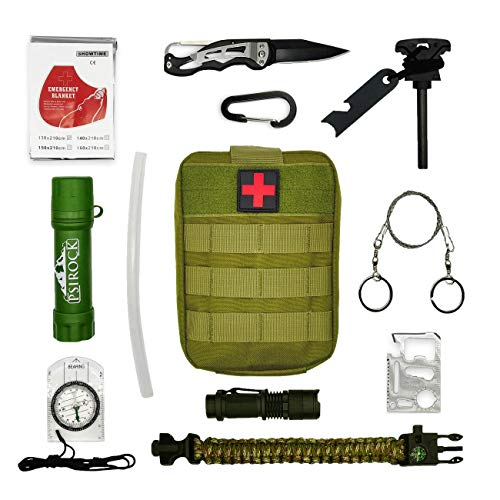 Kit supervivencia montaña Kit de supervivencia profesional | Navaja multiusos Pedernal supervivencia accesorios | Bushcraft Vivac Acampada | Filtro potabilizador de agua portátil | Survival kit