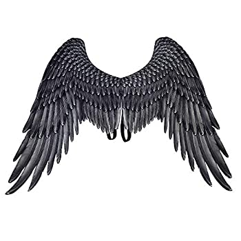 Himine Non-Woven Fabric Festive Party Angel Wings Suitable for Men and Women Decorative Wings  Black