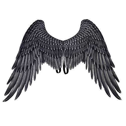 BaronHong Halloween Mardi Gras Costume Cosplay 3D Angel Wings per Adulti (Nero, M)