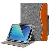 Fintie Hülle für Samsung Galaxy Tab S3 T820 / T825 (9,68 Zoll) Tablet - Multi-Winkel Betrachtung Kunstleder Schutzhülle Case mit Dokumentschlitze & Auto Schlaf/Wach Funktion, Jeansoptik dunkelgrau