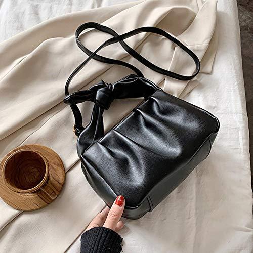PANZZ Poignée Bandoulière Sacs Femmes Couleur Unie Sacs À Main Épaule Femme Sacs De Voyage, Noir, 21 cm x 14 cm x 11 cm