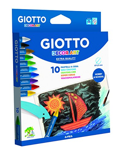 Giotto Decor Pack de 10 Ceras acuarelables, 14 x 1,5 x 18 cm