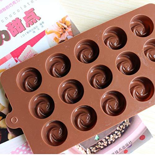 DJSK Silicone Fleur Rose Tourbillon Forme Moule À Chocolat Gelée Cany Moule À Glace Moules À Gâteau Cuisson Au Chocolat Moule en Silicone Moule À Gelée 21,7 * 10,8 * 1,7 cm