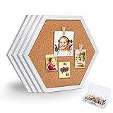 Facilife 4 Packs Pin Board Hexagon Cork Board, White Framed Bulletin Board, Decorative Bulletin Board for Office, School & Home (Includes 16 Push Pins, 16 Wood Clips)