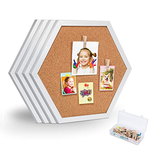 Facilife 4 Packs Cork Board Pin Board, Cork Boards for Walls with Frame, Decorative Bulletin Board for Office, School & Home (Includes 16 Push Pins, 16 Wood Clips)