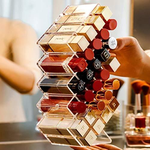 Grid Lipstick Aufbewahrungsbox Transparent Makeup Organizer Acryl Lippenstift Display Stand Stackable Plastic Box Trapez