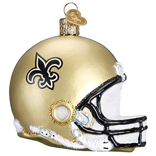 Old World Christmas Glass Blown Ornaments for Christmas Tree, New Orleans Saints Helmet