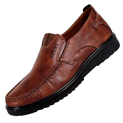 Skxinn Herrenschuh Formal Slipper Schuhe Moderner Mokkasins Schuhe Klassischer Schuhe Lackleder Schuhe Halbschuh Derby Lederschuhe Halbschuh(Braun,43 EU)