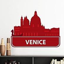 DIYthinker Venice Italy Red Landmark Pattern Vinyl Wall Sticker Wallpaper Room Decal