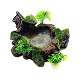 OMEM 爬虫類 ディッシュ えさ皿 餌入れ 食器 エサ皿 亀の皿 両生類 ご飯皿 模擬モス植物 飼育用品