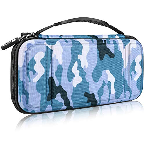 Fintie Carry Case for Nintendo Switch - [Shockproof] Hard Shell Protective Cover Travel Bag w/10 Game Card Slots, Inner Pocket for Nintendo Switch Console Joy-Con & Accessories, Camo Blue