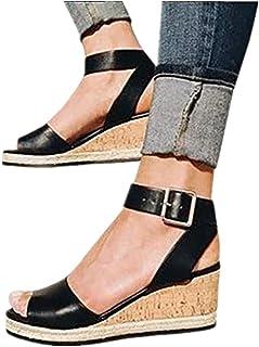 684f504d3f0e Mosstars Sandalias de cuña Mujer Verano 2019 Plataforma Tobillo Punta  Abierta Mujer Retro Zapatos Mujer Sandalias