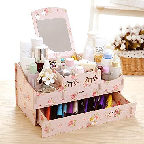 Cosmetica opbergdoos spiegel lade make-up organizer voor commode slaapkamer of badkamer make-up Camellia