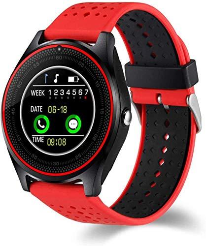 Gymqian Smart Watch, con Cámara Smart Watch Pedómetro Salud Deporte Reloj Horas Hombres Mujeres Smart Watch para Android Ios Fácil de Usar-Blue El mejor regalo/Rojo