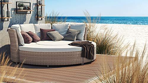 ARTELIA - Monaco Polyrattan Sonnenliege, Relaxliege, Relaxmuschel Sonneninsel, Rattan Sandfarbe