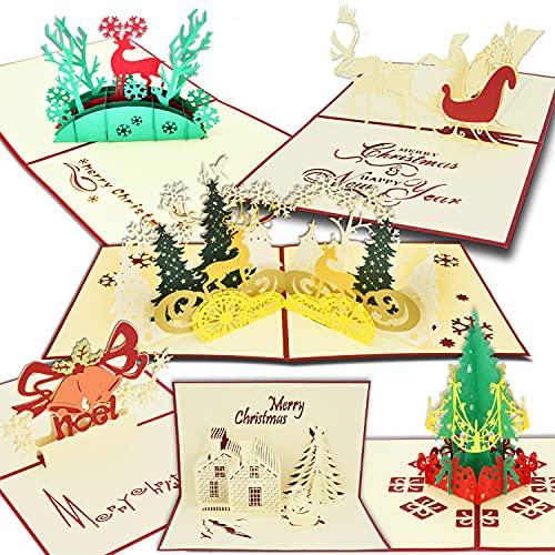 Cartes de Noël 6PCS, cartes de voeux de vacances Pop Up 3D pour Noël/Nouvel An