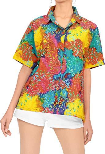 LA LEELA Hawaii-Hemd Blusen-Taste nach unten entspannt fit Frauen mit kurzen Ärmeln Lager Multi XL