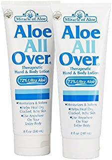 2-Pack Aloe All Over Therapeutic Dry Skin Lotion 8 ounce tube with 72% UltraAloe