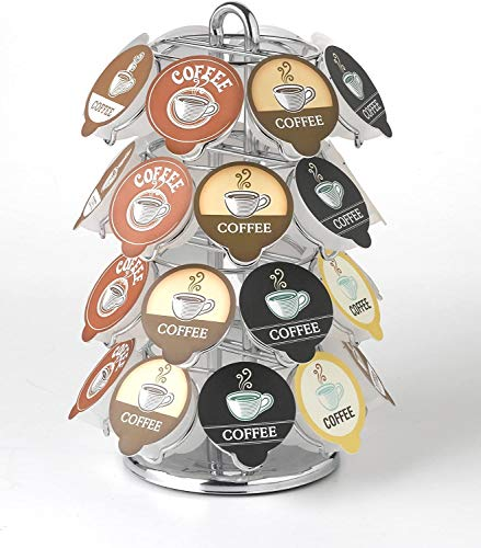 Nifty Coffee Pod Carousel – Compatible with K-Cups, 32 Pod Pack Storage, Spins 360-Degrees, Lazy Susan Platform, Modern Chrome Design, Home or Office Kitchen Counter Organizer