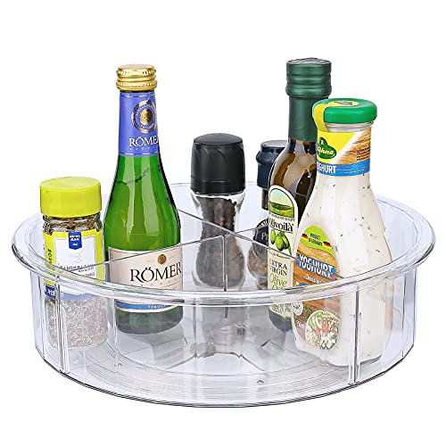 Clear Lazy Susan, Acrylic Divided Turntable Cabinet Organizer, Refrigerator Rotating Spice Rack, Kitchen Pantry and Countertop Spice Spinner, 12in