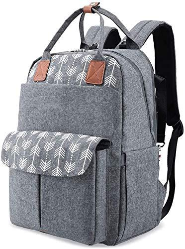 Mochila de Pañales Gran Capacidad Versátil Resistente al Agua Bolsa de Pañales para Bebés, Mochila Pañales con Cambiador