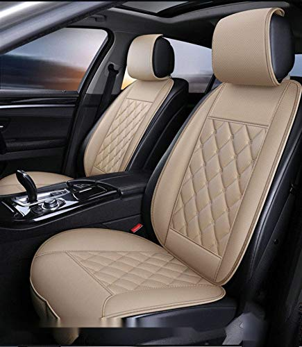 Waterproof Car Seat Covers,Universal Leatherette with Storage Bag Used in Most Five- and Seven-Seater Cars Four Seasons(Beige) (Color : Beige, Size : 5 sit)