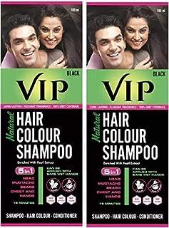 VIP Hair Colour Shampoo, Black, 180 ml (Pack of 2)
