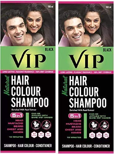 VIP Hair Colour Shampoo, Black, 180 ml (Pack of 2)