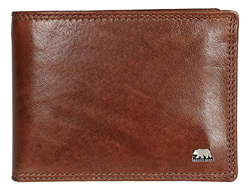 Brown Bear Geldbörse Herren Leder Braun Querformat RFID Schutz Blocker Business Doppelnaht Echtleder Männer Portemonnaie hochwertig Geldbeutel Portmonee Ledergeldbeutel Ledergeldbörse 8005 D tbr