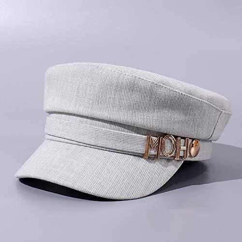 Xme Die Neue Buchstaben-Baskenmütze, der warme, Reine, Flache Zylinder für Herbstfrauen, der Trendige Outdoor-Shopping-Hut für Freizeitmode