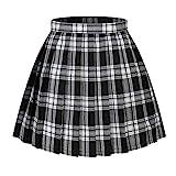 Beautifulfashionlife Girl High Waist Check Kilt Mini Tennis Pleated Skirts(XL,White Black)