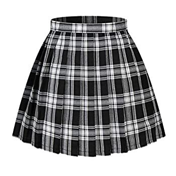 Women`s plaid flared British high school Pleated Skirts  4XL,White Black