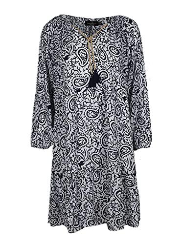 Zwillingsherz Sommerkleid im Paisley Design – Hochwertiges Abendkleid für Damen Frauen Mädchen - Freizeitkleid Cocktailkleid Strandkleid - Locker luftig – Perfekt für Frühling Sommer Herbst - Navy
