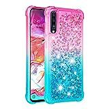 Cfrau Glitter Case with Black Stylus,Luxury Creative Quicksand Liquid Flowing Diamond Soft TPU Shockproof Cover for Samsung Galaxy A70/A7 2019,Pink Blue