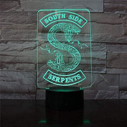 Festival 3D-illusionslampa LED nattlampa badge Riverdale ormlogo söder orm dekor skylt saker Riverdale tillbehör present bordslampa sovrum