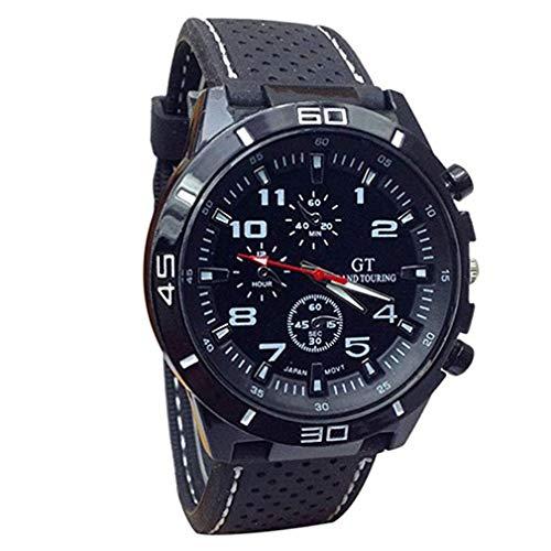 Scpink Sportliche Armbanduhr für Herren, Rennsport, Silikon, großes Zifferblatt, Quarzuhr, Herren, weiß, 4.2cm
