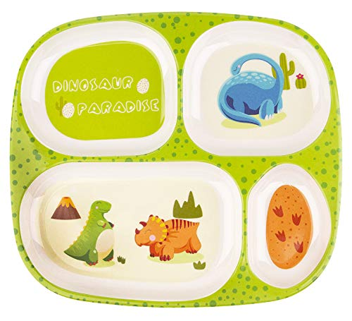 Juego de platos para niños, vajilla para bebés para niños pequeños que alimentan un plato dividido (Green)