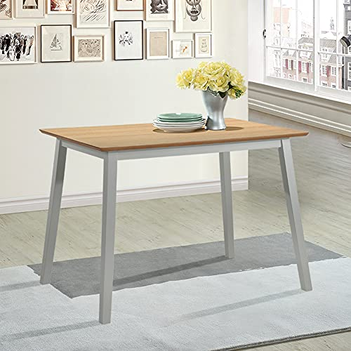 GOLDFAN Oak Dining Table Modern Rectangle Kitchen Table with Solid Wood Legs for Dining Room Lounge Office,105CM/Grey