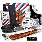 Kit cuidado barba y afeitado Sapiens Barbershop - Kit barba con Navaja afeitar barbero, Aceite barba y balsamo 100% naturales, Cuchillas Derby, Cepillo barba, Peine barba, Plantilla, Tijeras, Bolsa