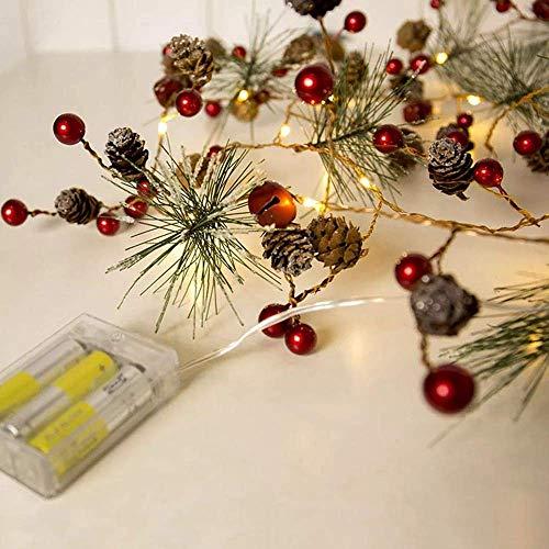 ZLININ DC4.5V 2M 20LED Red Berry Pinecone Warm White Battary Operated LED Christmas Holiday String Light Fairytale Light