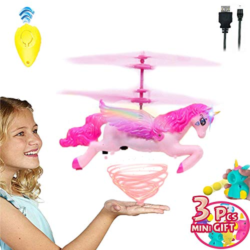 Akargol Flying Unicorn Toys for Girls 3,4,5,6,7,8,10+Years Old Kids Birthday - Rechargeable Remote Control Gift, RC Infrared Induction Helicopter Drone Fairy Doll