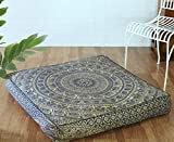 Popular Handicrafts Indian Hippie Elephant Mandala Floor Pillow Cover Square Ottoman Pouf Cover Daybed Oversized Cotton Cushion Cover with Heavy Duty Zipper Seating Ottoman Poufs Dog-Pets Bed 35""