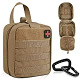Tactical First Aid Pouch, Molle EMT Pouches Rip-Away Military IFAK Medical Bag, Outdoor Activities Emergency Medical Supplies (Only Bag ), Polyester Bag with 2 Carabiner + Red Cross Patch