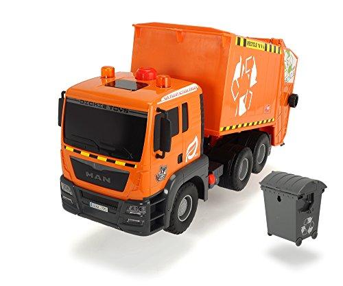 Dickie Toys 203809000 - Air Pump Garbage Truck, Müllabfuhr mit Mülltonne, 55 cm