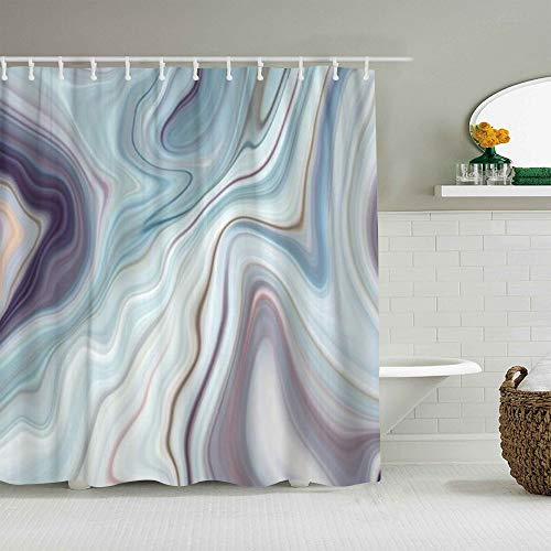 YOLIKA Duschvorhang,Granite Marble Abstract Blue Ink Liquid,personalisierte Deko Badezimmer Vorhang,mit Haken,180 * 210