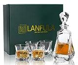 LANFULA 5 Piezas Vasos y Jarra de Whisky, 650 ml Decantador con 4 Copas de Whisky Cristal Sin Plomo...