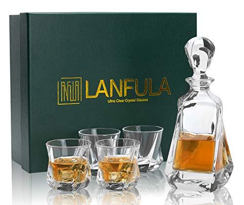 LANFULA 5 Piezas Vasos y Jarra de Whisky, 650 ml Decantador con 4 Copas de Whisky Cristal Sin Plomo 210 ml,Hermosa Caja de Regalo