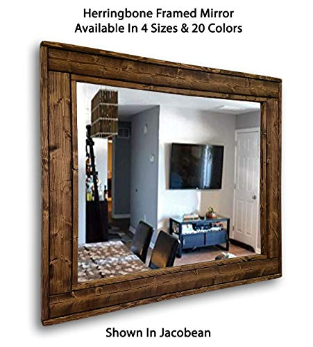 Herringbone Reclaimed Wood Framed Mirror, Available in 4 Sizes and 20 Stain colors: Shown in Jacobean - Decorative Mirror – Livingroom Decor – Wall Decor – 24x30 – 36x30 – 42x30 – 60x30