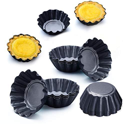 Amytalk 12 Packs Egg Tart Mold, Size 2.6 x 0.9inch, Cupcake Cake Muffin Mold Tin Pan Baking Tool, Carbon Steel